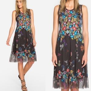 JOHNNY WAS Kemira Mesh Embroidered Dress w/slip